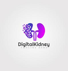 Digital kidney logo designhealthcare and medical vector