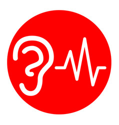 Ear hearing sound sign white icon in red vector
