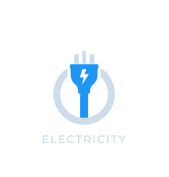 Electricity icon with electric plug vector