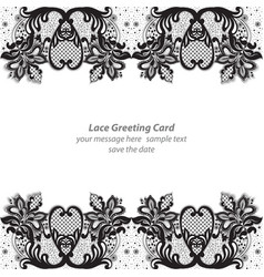 elegant lace greeting delicate card black and vector image