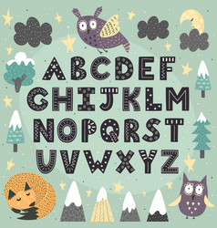 Fantasy forest alphabet for children awesome abc vector