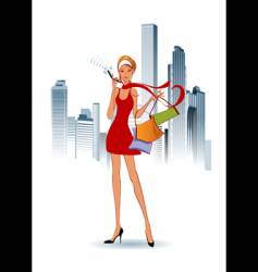 Fashion women on the phone vector