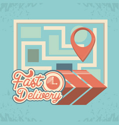 fast delivery service with world map travel vector image