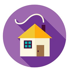 Flat Design House with Smoke Circle Icon vector