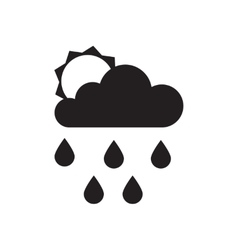 Flat icon in black and white rain sun vector