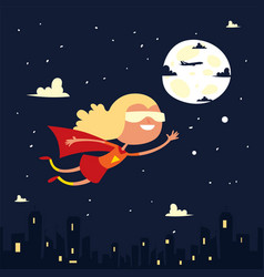 Girl character little superhero fly space black vector