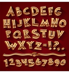 Golden Retro 3D Font with Strips on Red Background vector image