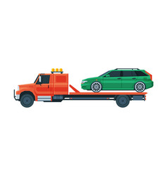 Green car transporting on tow truck roadside vector
