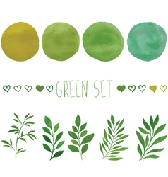 Green set for design vector