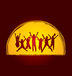 Group of children jumping together friend vector