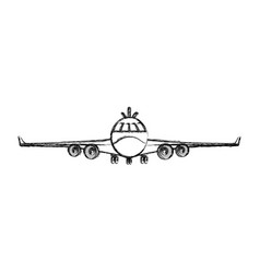 grunge front airplane vehicle fashion transport vector image