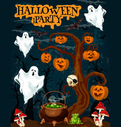 Halloween party invitation banner with fear ghost vector
