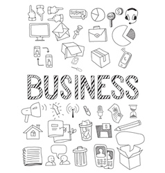 Hand drawn set of business vector