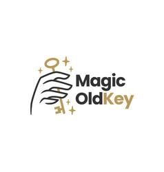 Hand hold old key magic mystic logo icon vector