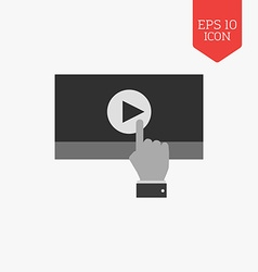 Hand press play video icon Flat design gray color vector image