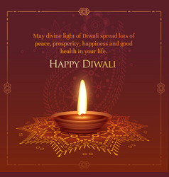 Happt diwali wished greeting card design with vector