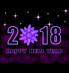 happy new year 2018 text stylized purple bow vector image