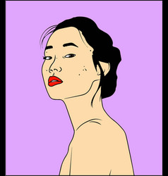 head of beautifull japanese young vector image
