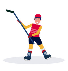 ice hockey player raised stick skating goal vector image