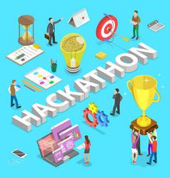 isometric flat concept hackathon hack vector image