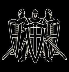 Knightly design three warrior knight templar with vector