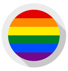 Lgbt rainbow pride flag round shape icon on white vector