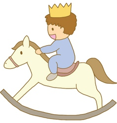 little prince riding on wooden rocking horse vector image