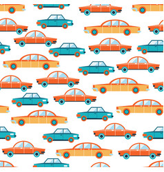 lovely colorful cars seamless background pattern vector image