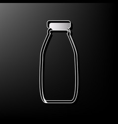 Milk bottle sign gray 3d printed icon on vector