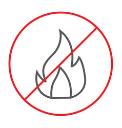 no fire thin line icon prohibited and warning no vector image