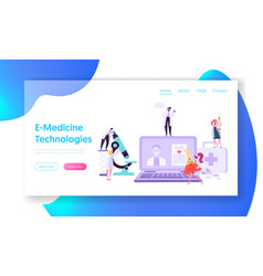 Online healthcare technology concept landing page vector
