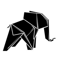 origami elephant icon simple black style vector image
