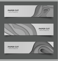 Paper cut horizontal banners abstract 3d flyers vector