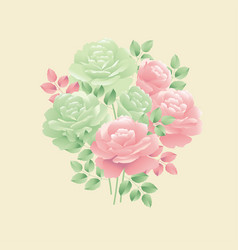 pastel colors decorative tender rose flower motif vector image
