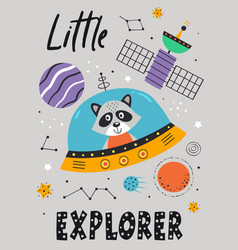 Poster with space raccoon in spaceship vector