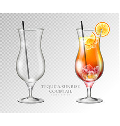 realistic cocktail tequila sunrise vector image