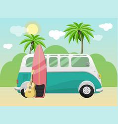 Retro bus with surfboard on tropical beach vector
