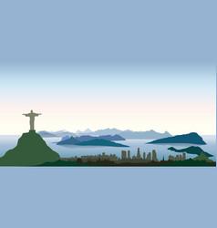 rio de janeiro city skyline travel background vector image