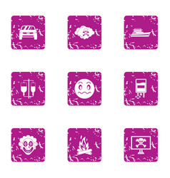 Risky event icons set grunge style vector