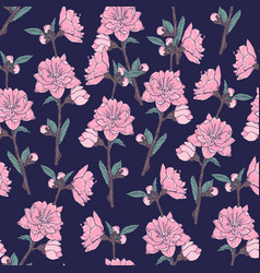 romantic seamless pattern with gorgeous blooming vector image