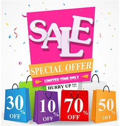 Sale Discount design with shopping bag vector image