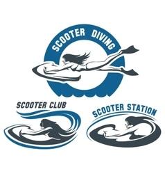 Scooter Diving Club emblem set vector