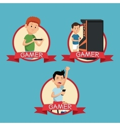Set fun gamers play video banner blue backgroung vector