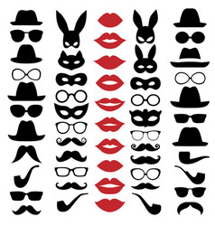 set hats glasses masks lips and moustaches vector image