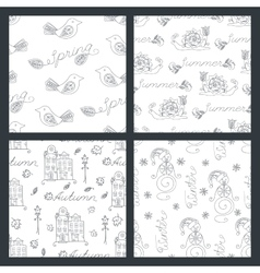Set of seasonal seamless pattern vector image