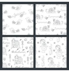 set seasonal seamless pattern vector image
