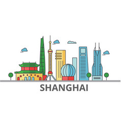 Shanghai city skyline buildings streets vector