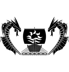 Ship and dragons vector