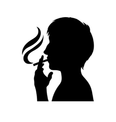 Smoker silhouette man with cigarette vector image