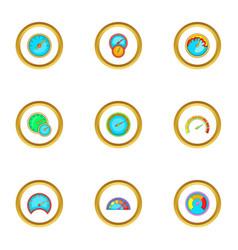 speed measurement icons set cartoon style vector image